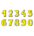 Hand drawn yellow numbers isolated on white vector image vector image