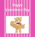 happy valentines day poster teddy bears couple vector image vector image