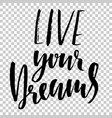 live your dreams hand drawn dry brush lettering vector image vector image