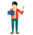 Man making purchases online vector image
