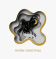 merry christmas 3d abstract paper cut vector image