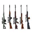 military and hunting weapon set rifle guns vector image
