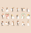 newlyweds posing and dancing on wedding party vector image vector image