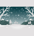 paper art landscape with deer family and snowflake vector image vector image