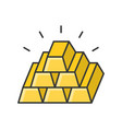 pile of gold bar filled outline icon vector image vector image