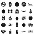 practice icons set simple style vector image