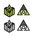 set abstract geometric logos thin line best for vector image