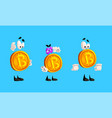 set bitcoin characters cryptocurrency with vector image vector image