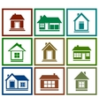 set colorful house icon vector image