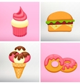 Set donut icon with pink glaze Strawberry Muffin vector image vector image