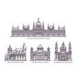 set line isolated hungary cultural monuments vector image vector image