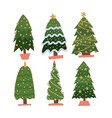 set of cartoon christmas trees pines for greeting vector image