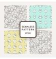 Set of random owls seamless patterns Cute nignht vector image