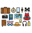 set of traveling objects collection vector image vector image