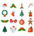 set of xmas isolated icon cartoon style for vector image vector image