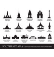 southeast asia cities landmarks silhouette vector image vector image