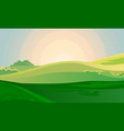 summer green landscape field dawn above hills vector image