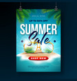 summer sale poster design template with exotic vector image vector image