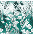 teal green textured tropical leaf seamless pattern vector image