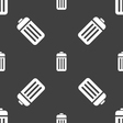 The trash icon sign Seamless pattern on a gray vector image