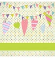 Vintage frame with birthday bunting flags vector image vector image