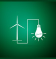 wind mill turbine and glowing light bulb icon vector image