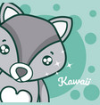 wolf cute kawaii cartoon vector image