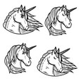 set of unicorn heads isolated on white background vector image