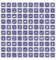 100 hi-tech icons set grunge sapphire vector image vector image