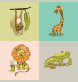 african funny animals cute circus zoo hand drawn v vector image