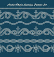 anchor chain seamless pattern set vector image vector image