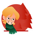 avatar boy on a red background vector image