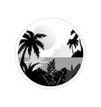 beautiful tropical scenery with trees water and vector image