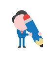 businessman holding blue pencil vector image