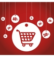 buying cart sale tags discounts vector image