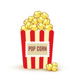 carton bowl full of popcorn icon vector image vector image