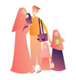 cartoon arab family characters happy muslim vector image vector image