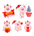 cartoon pigs set vector image vector image