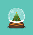 christmas ball with snow and a christmas tree vector image vector image