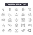comedian line icons signs set outline vector image vector image