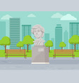 concrete monument in city park bust vector image