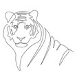 continuous one line drawing a tigers head vector image vector image