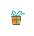 creative gift box symbol design logo vector image