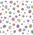cute seamless pattern with hand drawn cartoon vector image vector image