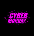 cyber monday glitch effect emblem website display vector image vector image