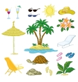 Exotic Set Palm Flowers and Beach Objects vector image