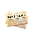 fake news header old yellow folded newspaper icon vector image