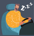 falling asleep man while driving vector image