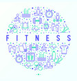 fitness concept in circle with thin line icons vector image