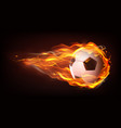 football ball flying in flames realistic vector image vector image